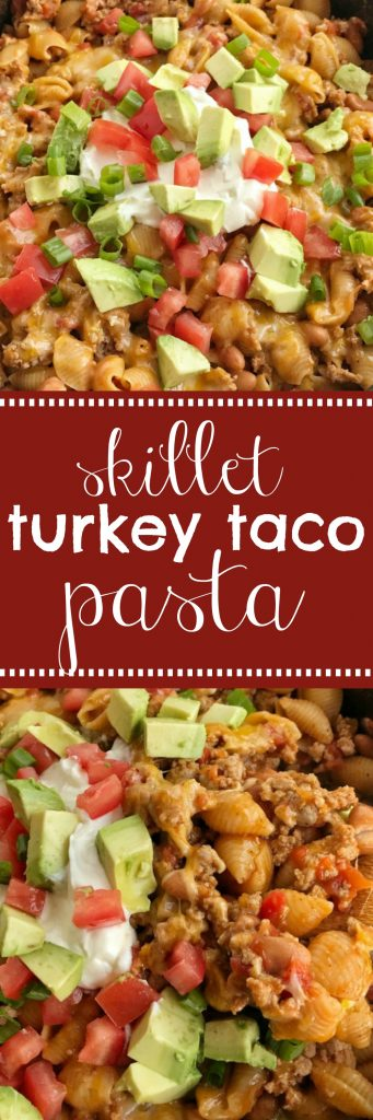 Skillet Turkey Taco Pasta | 30 minute dinner | One pan | Skillet turkey taco pasta is a one pot meal made in a skillet pan on the stove. Cheesy, flavorful turkey with tender pasta, beans, tomatoes, and seasonings. If you need dinner in 30 minutes then this it! #easydinnerrecipes #onepan #dinner