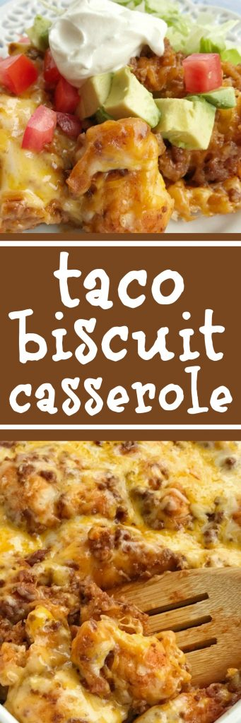 Taco biscuit casserole is an easy & simple one pot meal.Puffed up refrigerated biscuits smothered in a beefy taco mixture and topped with melted cheese. Customize with your favorite taco toppings and you have a delicious dinner recipe that the entire family will love   www.togetherasfamily.com #dinnerrecipes #tacos #casseroles