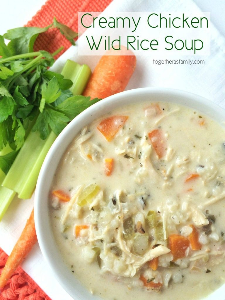 Creamy chicken wild rice soup is a family favorite for chilly days. Creamy, flavorful broth loaded with shredded chicken, carrots, celery and wild rice. This cooks all day in the slow cooker and uses a package of rice-a-roni for convenience. This stuff is incredible!