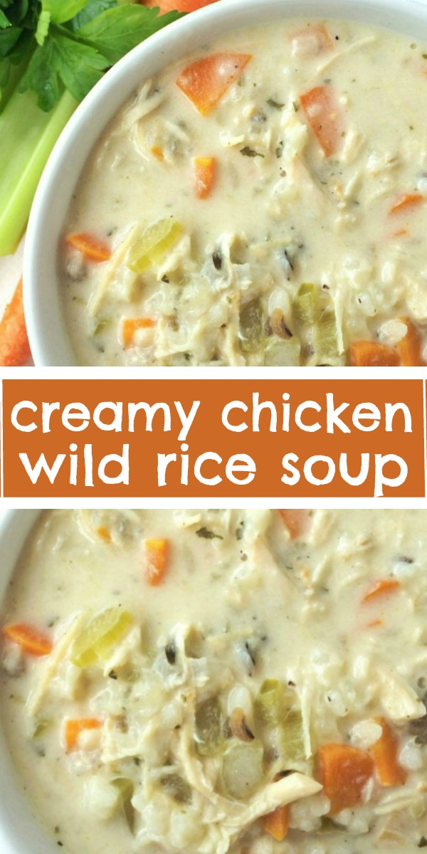 Creamy Chicken Wild Rice Soup | Chicken Soup | Slow Cooker Soup Recipe | Creamy chicken wild rice soup is a family favorite for chilly days. Creamy, flavorful broth loaded with shredded chicken, carrots, celery and wild rice. This cooks all day in the slow cooker and uses a package of rice-a-roni for convenience. This stuff is incredible! #crockpot #slowcookerrecipe #dinnerrecipes #souprecipe #soup