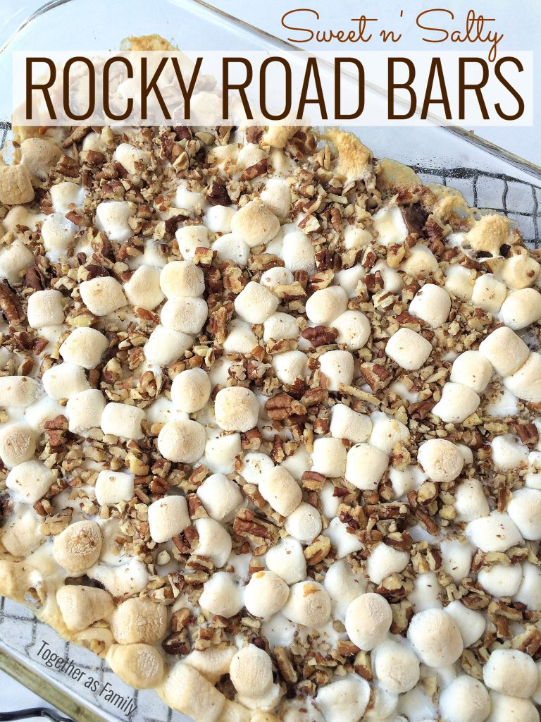 SWEET n' SALTY ROCKY ROAD BARS - pretzel crust condensed milk, layered with pecans, marshmallows and chocolate | www.togetherasfamily.com