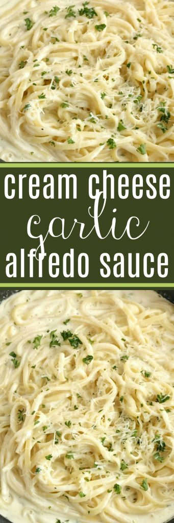 Cream Cheese Garlic Alfredo Sauce | Homemade Alfredo Sauce | Cream Cheese | Cream Cheese Garlic Alfredo Sauce is an easy, 30 minute dinner that is so creamy, delicious, and full of flavor. Serve over your favorite pasta for a delicious dinner that is a family favorite. You only need a few simple ingredients to make homemade alfredo sauce with cream cheese. #dinner #dinnerrecipes #easydinner #alredosauce