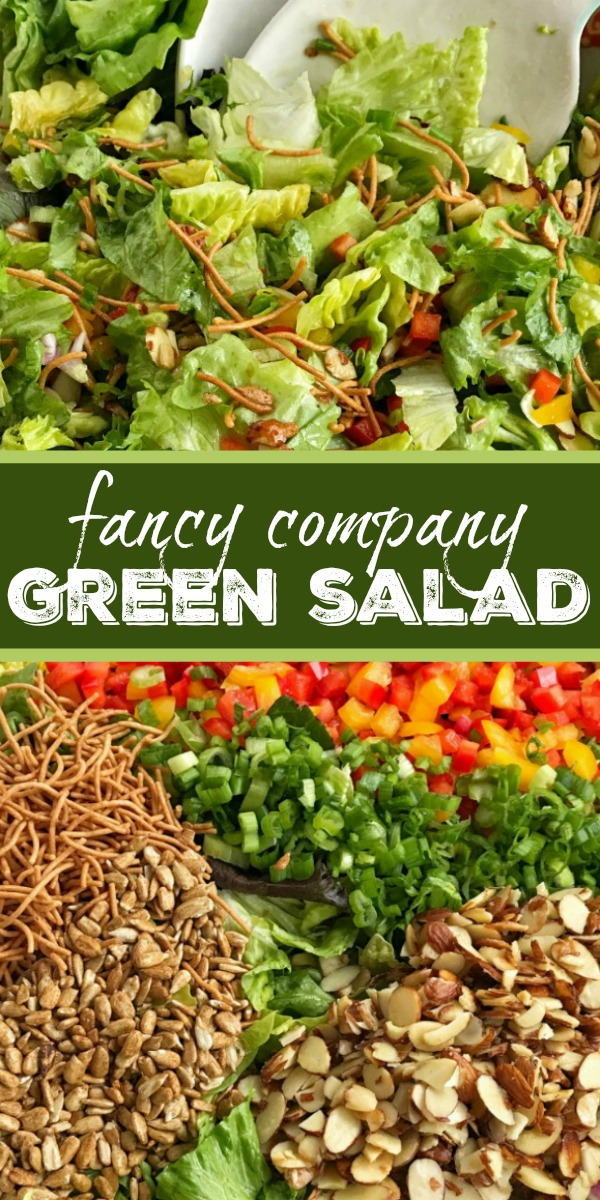 Company Green Salad | Salad Recipe | Side Dish Recipe | Fancy Company Green Salad is a perfect weeknight side dish or fancy enough for company! Crisp, bright greens with crunchy rice noodles, sweet red & yellow peppers, sugared almonds, salty sunflower kernels, and green onions. Topped with a simple dressing. This salad is the perfect blend of texture, color, and flavor. #sidedish #saladrecipes #greensalad #healthyrecipe #recipeoftheday