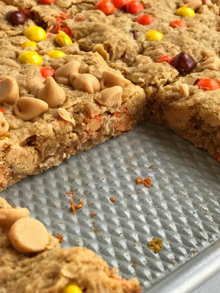 (no flour!) Triple Peanut Butter Monster Cookie Bars ...