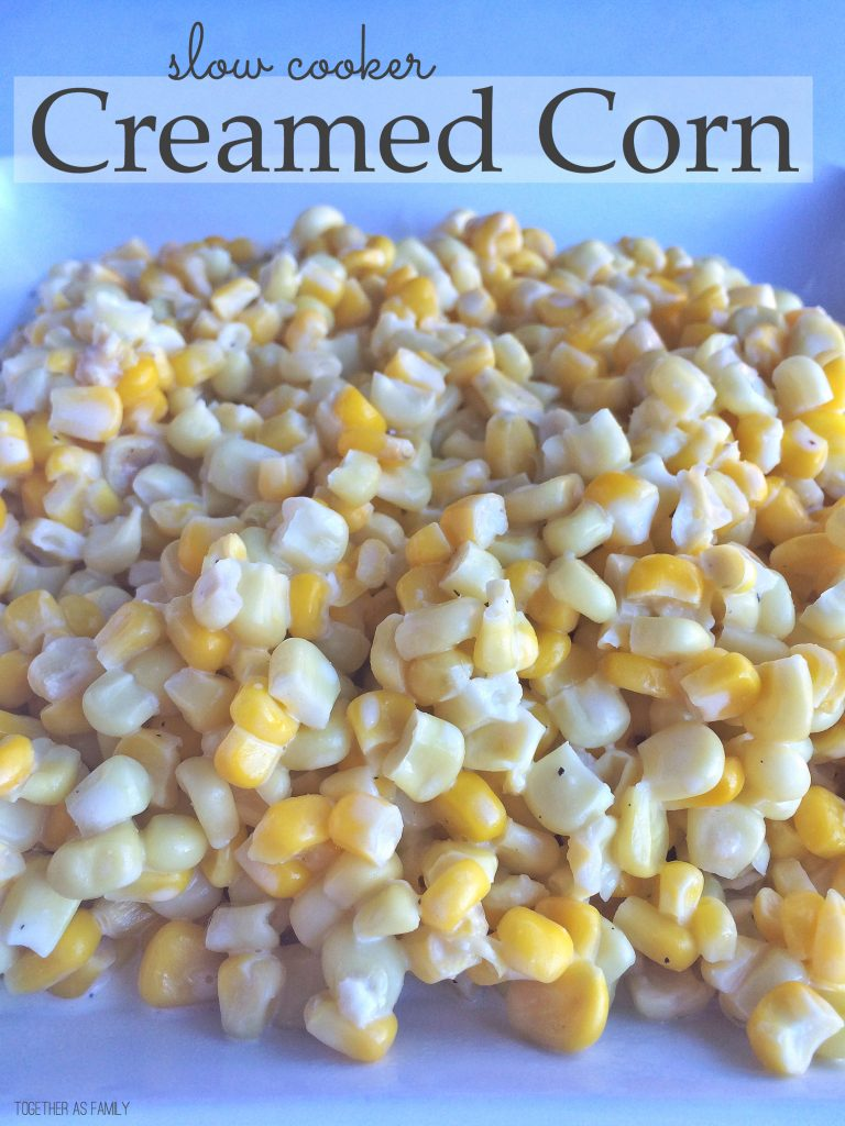 SLOW COOKER CREAMED CORN | only 5 ingredients and the slow cooker does all the work! www.togetherasfamily.com