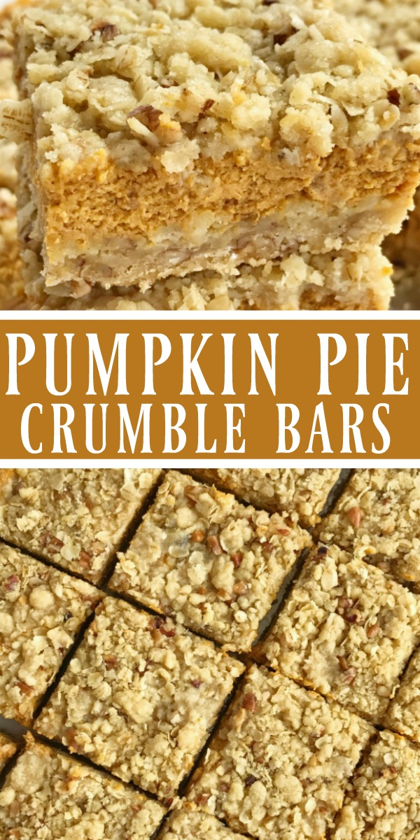 Pumpkin Pie Crumble Bars | Pumpkin Desserts | Pumpkin Recipes | Pumpkin Cheesecake | Pumpkin pie crumble bars taste just like pumpkin pie but in bar form! A brown sugar, oat, and pecan crumble with a sweet and creamy pumpkin cheesecake middle. These bars are one of our favorite pumpkin desserts. They are a must-make. #pumpkinrecipes #pumpkindesserts #fallrecipe #pumpkin #cheesecake #pumpkincheesecake