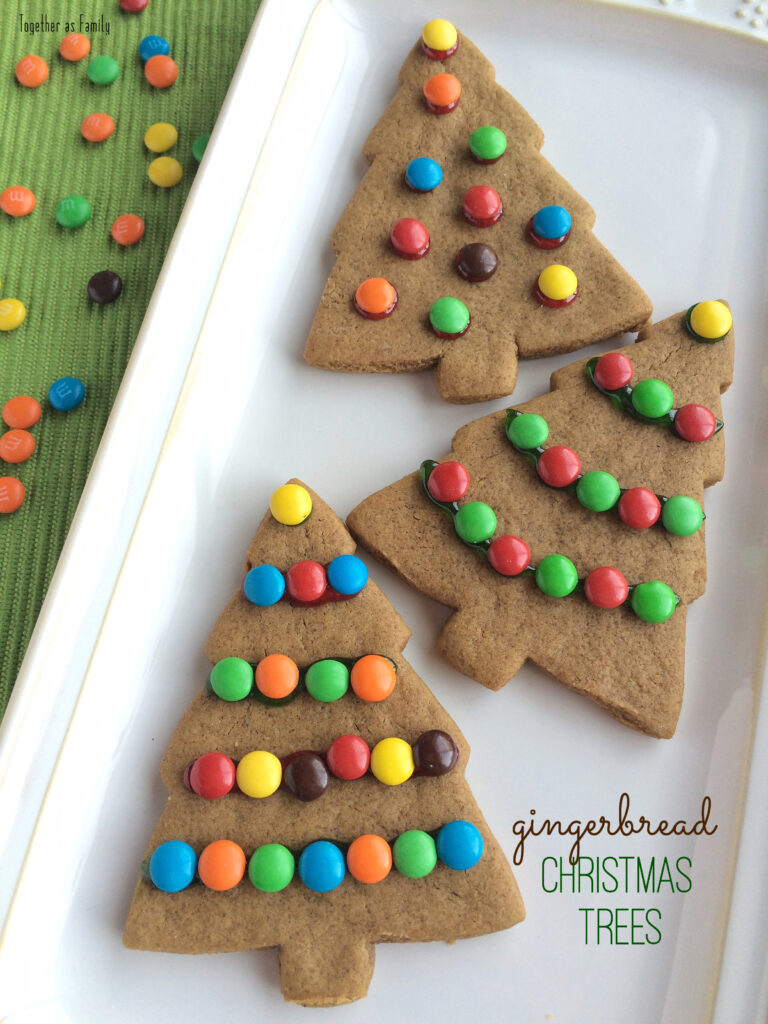 GINGERBREAD CHRISTMAS TREES | soft & thick gingerbread cookies decorated with m&m ornaments! www.togetherasfamily.com
