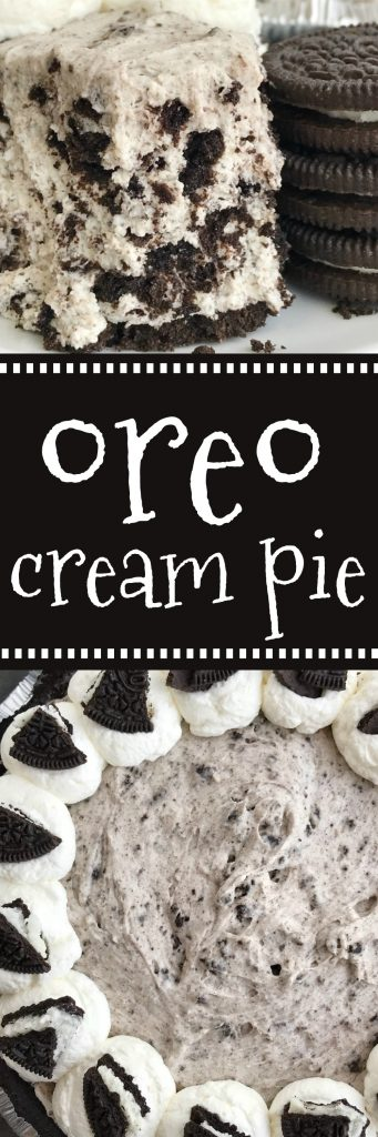 Oreo Cream Pie | Pie | No Bake Dessert Recipes | Cream Pie | Oreos | This Oreo cream pie will be one of the easiest desserts you'll ever make. An Oreo cookie crust filled with a cream Oreo filling. Top with additional whipped cream and Oreos for the ultimate Oreo Cream Pie. Only 6 simple ingredients needed and it's no-bake! #nobake #pie #dessert #desserts #easydessertrecipes