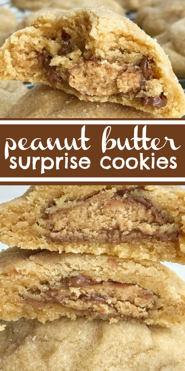 Peanut Butter Surprise Cookies   Peanut Butter Cookies   Cookie Recipe   Peanut butter cookies stuffed with a miniature Reese's peanut butter cup! These thick & soft baked peanut butter cookies are full of peanut butter flavor with a candy surprise in the middle. #peanutbutter #cookierecipe #dessertrecipe #easyrecipe #peanutbuttercookies