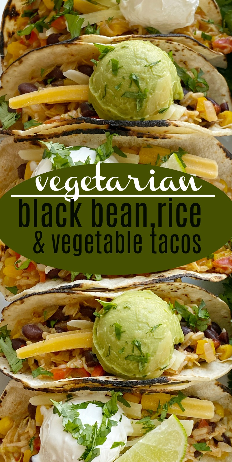 Black bean, rice, & vegetable tacos | Vegetarian Recipe | Meatless Recipe | Delicous vegetable tacos are the perfect vegetarian recipe for Taco Tuesday! Cabbage, bell peppers, corn, black beans, onion, brown rice, and fresh lime. #vegetarianrecipes #meatlessrecipe #tacos #vegetarianfood #recipeoftheday