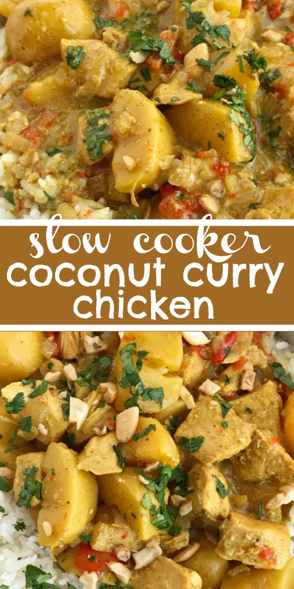 Slow Cooker Coconut Curry Chicken | Curry Chicken | All the flavors of classic coconut curry chicken but in a easy dump-it-and-forget-about-it slow cooker chicken curry recipe! Perfectly spiced, creamy coconut, tender potatoes & chicken all served over some fragrant Jasmine rice. A simple & delicious easy weeknight family dinner that's mild enough for kids to enjoy. #easydinnerrecipes #slowcookerrecipes #crockpot #currychicken #thaifood #recipeoftheday