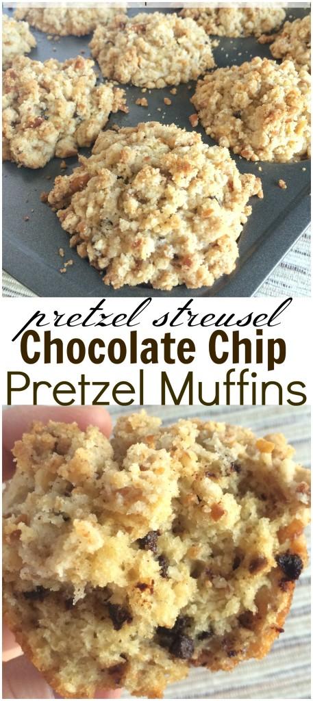 {pretzel streusel} CHOCOLATE CHIP PRETZEL MUFFINS | www.togetherasfamily.com