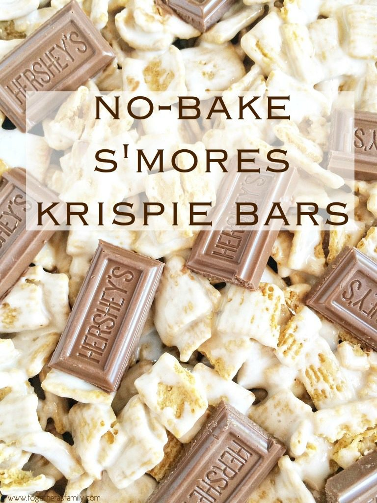 S'mores krispie bars are packed with Golden grahams, gooey marshmallows, and Hershey chocolate pieces to bring you the taste of a campfire s'more but in an easy, one pan, no bake s'mores krispie bar! These will remind you of summer campfires all year long!