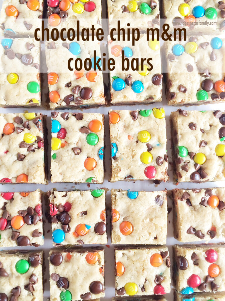 CHOCOLATE CHIP M&M COOKIE BARS | www.togetherasfamily.com