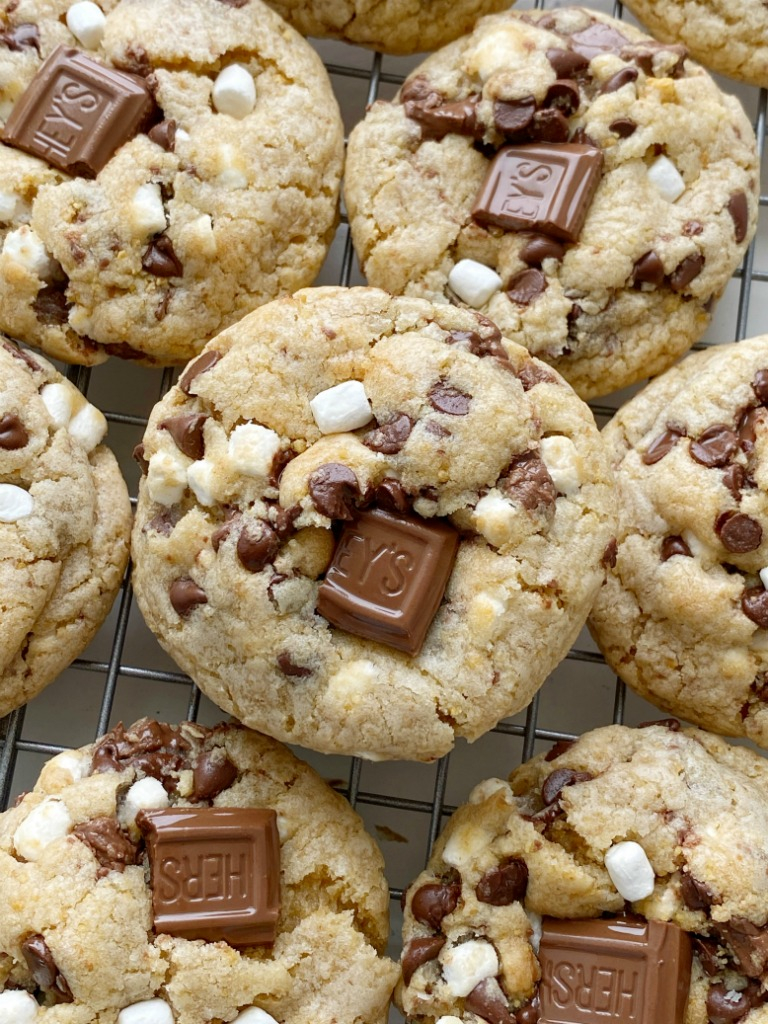 S'mores Dessert Recipes   Cookie Recipes   Smores Cookies are soft-baked, thick, and chewy. Graham cracker cookie dough base, marshmallow bits, Hershey's chocolate, and chocolate chips.
