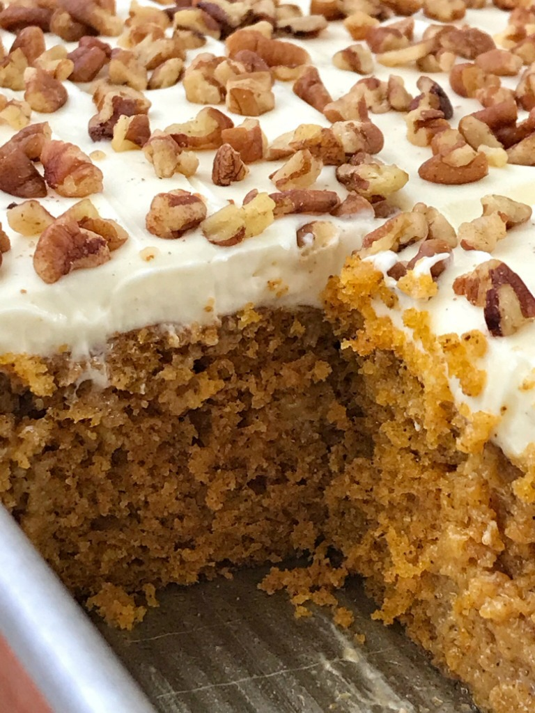 Pumpkin Pie Poke Cake | Poke Cake | Pumpkin Cake | Pumpkin pie poke cake is a delicious pumpkin cake, soaked in a pumpkin spice sweetened condensed milk, and topped with a whipped cream cheese frosting. This pumpkin pie poke cake is so moist, rich, delicious, and the best pumpkin dessert. #pumpkin #pumpkinrecipes #pokecake #dessert #easydessert #recipeoftheday