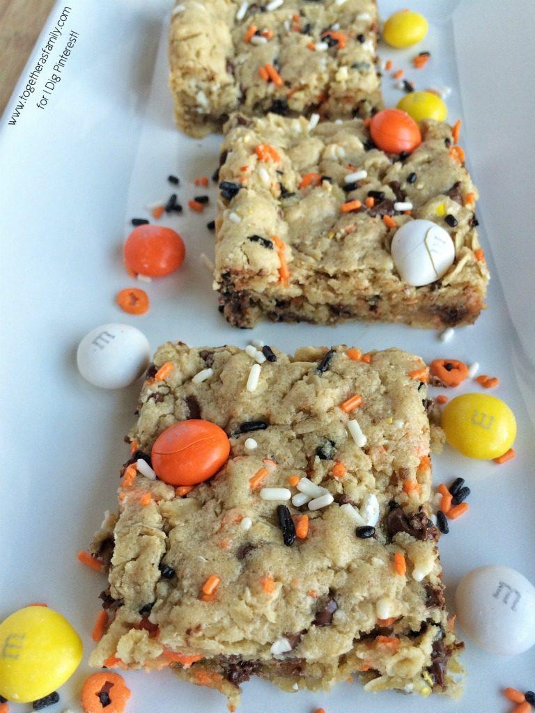Candy Corn M&M Halloween Cookie Bars