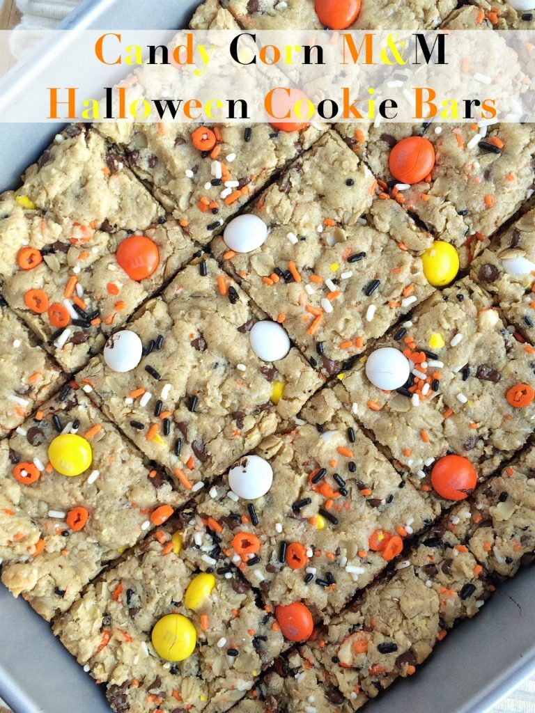 Candy Corn M&M Halloween Cookie Bars