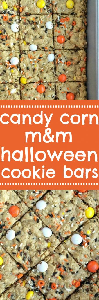 These festive candy corn m&m Halloween cookie bars are sure to be a hit! A soft, thick, chewy cookie bar loaded with candy corn m&m's, Halloween sprinkles, chocolate chips and peanut butter. Perfect treat for Halloween parties or just because | togetherasfamily.com