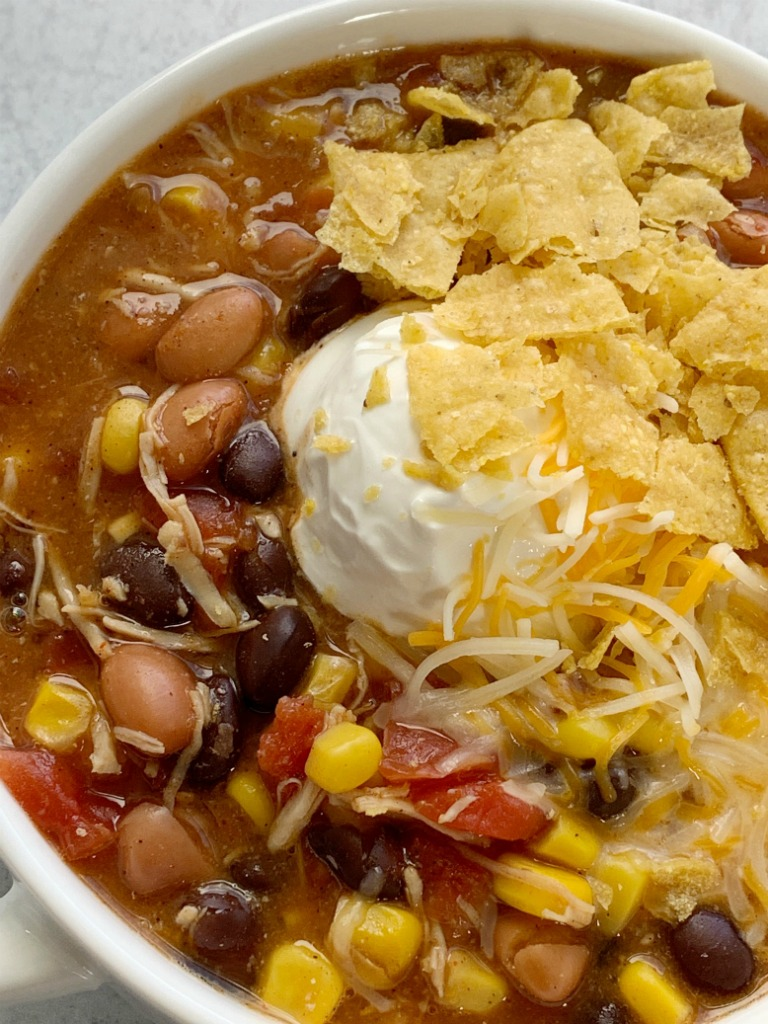 7 Can Chicken Taco Soup   7 Can Soup Recipe   Soup Recipe   Dinner does not get any easier than this 7 can chicken taco soup! Dump 7 cans into a pot plus some seasonings and that's it! Serve with tortilla chips, cheese, and sour cream. You won't believe how yummy & easy it is.