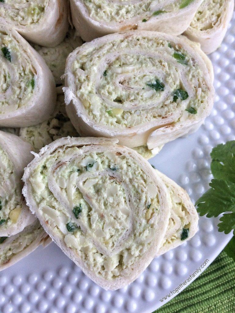 Soft flour trotillas filled a creamy and cheesy avocado chicken salad.