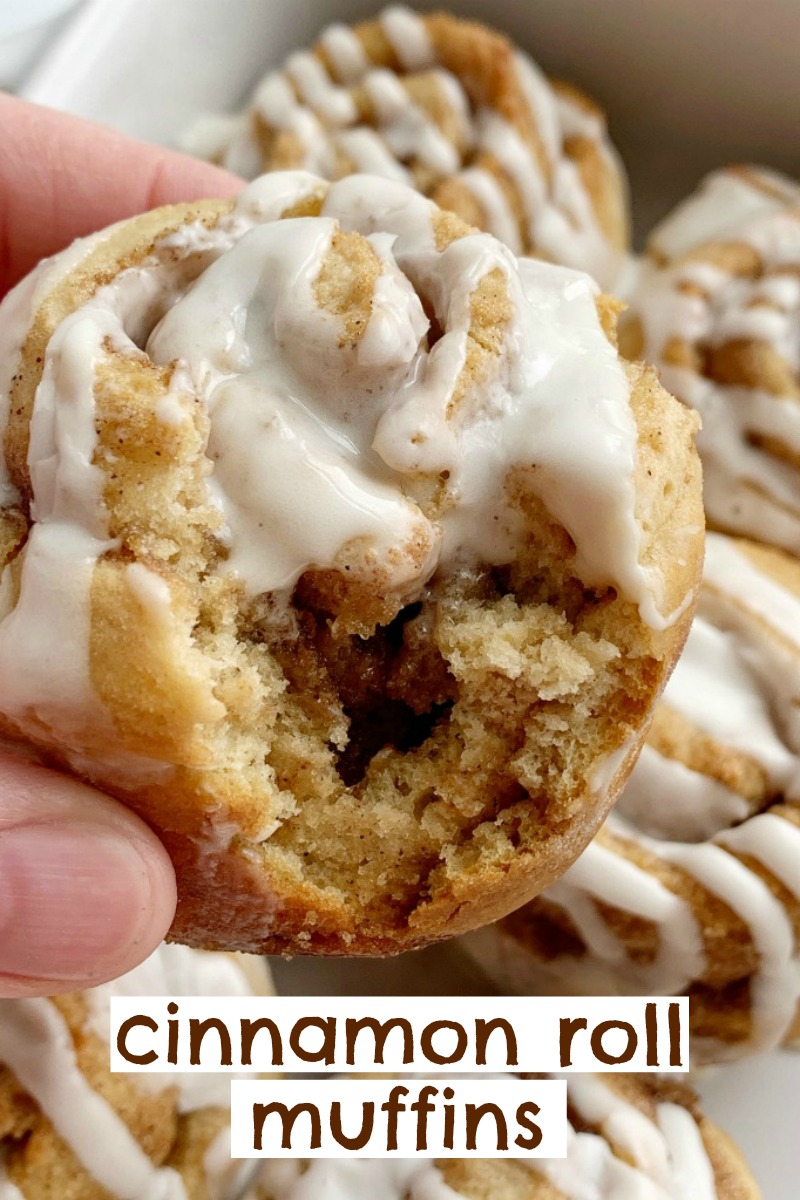 No Yeast & One Bowl Cinnamon Roll Muffins | Cinnamon Roll Muffins require no yeast, only one bowl and they're ready in about 30 minutes! All the flavor, gooey cinnamon & sugar, and sweetness that you love about a cinnamon roll, but in an easy to make cinnamon roll muffin recipe. #cinnamonrolls #breakfastrecipes #muffins #recipeoftheday #onebowl #easyrecipes