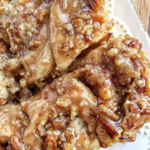Easy Overnight Caramel Pecan Cinnamon Rolls Together As Family