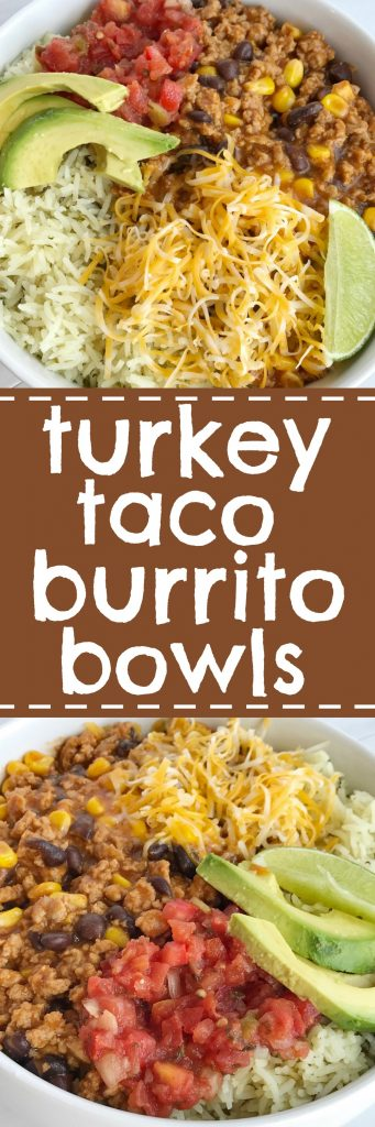 Turkey Taco Burrito Bowls are a family favorite meal! Let everyone build their own bowl for a fun do it yourself dinner. Turkey taco meat simmers on the stove top to make these burrito bowls so flavorful and a quick, 30 minute dinner that everyone will love. Add on all of your favorite taco toppings for a fun and delicious dinner.