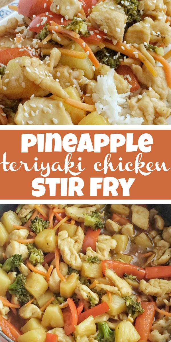 Pineapple Teriyaki Chicken Stir Fry   Chicken Stir Fry Recipe   Vegetables and chicken simmer in a homemade pineapple teriyaki sauce that is so simple to make. Serve over some rice and dinner is ready. This one pot chicken stir fry is a 30 minute meal that is bursting with flavor and cooks in one pan on the stove top! #dinnerrecipe #30minutedinner #chicken #stirfry #teriyakichicken #onepot #recipeoftheday #easyrecipe #chickenstirfry