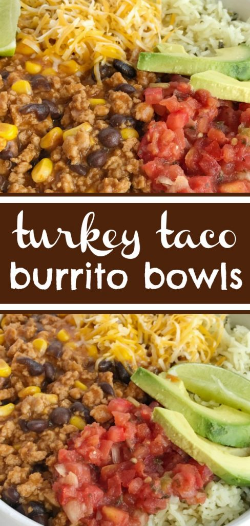 Turkey Taco Burrito Bowls | Burrito Bowls | Ground Turkey Recipe | Mexican Food | Tacos | Turkey taco burrito bowls are an easy family dinner that's ready in 30 minutes. Serve over rice and top with all your favorite taco toppings. #easydinnerrecipes #mexicanfood #tacos #burritobowl