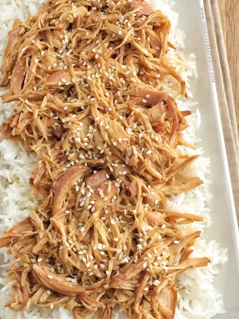 Slow cooker honey teriyaki chicken is a family favorite dinner. Only a few ingredients for a homemade honey teriyaki sauce and some chicken is all you need! The chicken is so tender thanks to the long cook time in the slow cooker. Serve over cooked rice and drizzle with additional teriyaki sauce.