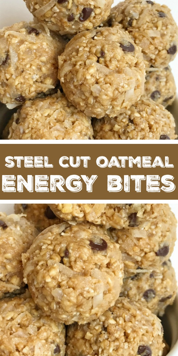Steel Cut Oatmeal Energy Bites   Steel Cut Oat Energy Balls are an easy, 5 ingredient healthy snack. Steel cut oats, honey, peanut butter, chocolate chips, and coconut. Energy bites are the perfect afternoon snack. #healthyrecipe #snack #energybites #steelcutoats