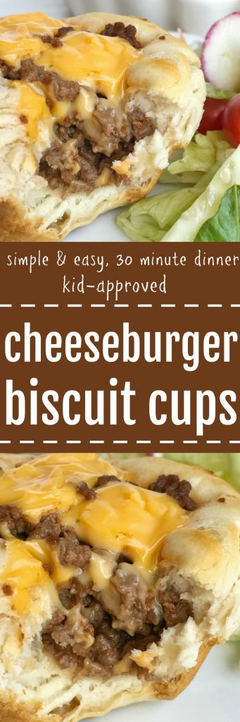 Cheeseburger Biscuit Cups - An easy, simple, kid-approved dinner recipe that are perfect for back-to-school. Ground beef in a flaky biscuit with a cheeseburger center. 30 minute meal that is so simple to prepare. Everyone will LOVE these | togetherasfamily.com