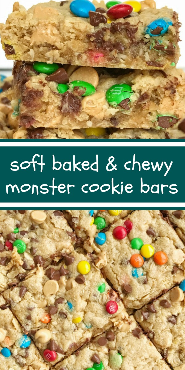 Monster Cookie Bars | After School Treat | Dessert | Monster Cookie Recipes | Monster cookie bars are a fun treat loaded with peanut butter, oats, chocolate chips, peanut butter chips, and mini m&m's. They bake up perfectly soft, chewy, and thick. A fun treat to make with the kids or great for back-to-school lunches or after school treat. #backtoschoolrecipes #snacks #dessert #dessertrecipes #monstercookies