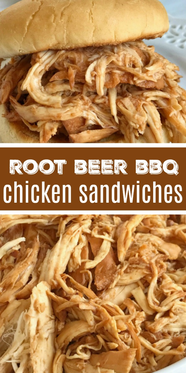 BBQ Chicken Sandwiches | Root Beer Chicken | BBQ Chicken | Root beer BBQ chicken sandwiches are so incredibly easy to make! 3 ingredients and a slow cooker are all you need for a delicious dinner that is ready when you are. Perfect for a busy weeknight, picnic, potluck, or BBQ. Root beer, chicken breasts, BBQ sauce, and a few spices is all you need. #dinner #dinnerrecipes #chicken #bbq #bbqchicken #recipeoftheday