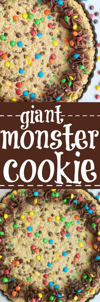 A giant monster cookie that's so thick, soft-baked, chewy, and loaded with all the monster cookie favorites. Oats, chocolate, peanut butter, and m&m's. This giant monster cookie recipe makes for a great first day of school tradition too. Kids will love it as a fun after school snack to celebrate their first day | www.togetherasfamily.com