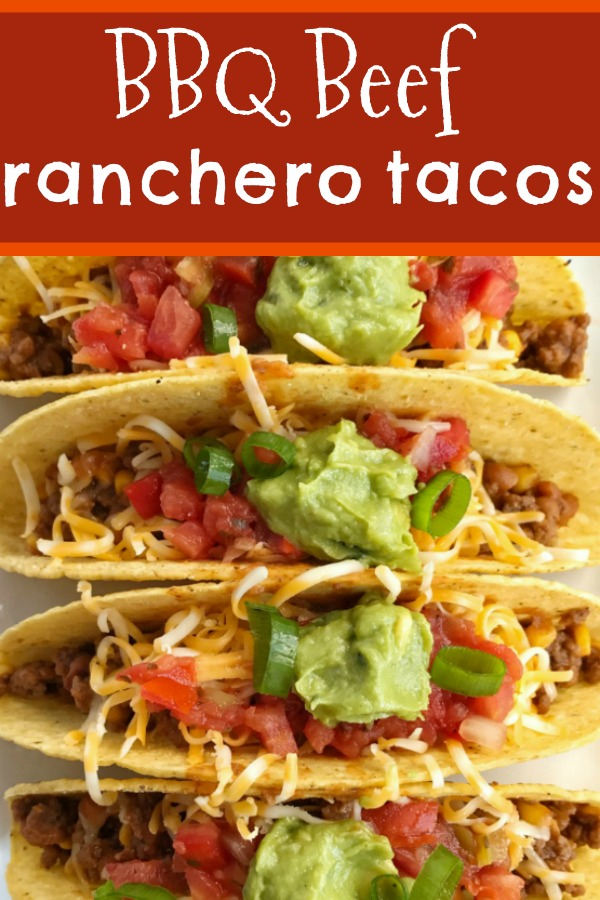 BBQ Beef Ranchero Tacos | Taco Recipe | Beef Tacos | 20 minutes and one skillet pan is all you need for these sweet & smoky bbq beef ranchero tacos. Baked beans, corn, bbq sauce, and some Mexican spices come together for one delicious taco dinner that is sure to be become a family favorite. #easydinnerrecipes #dinner #tacos #groundbeef