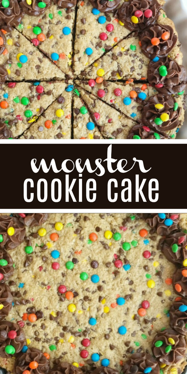 Giant Monster Cookies | Monster Cookie Recipe | Back to School Recipes | Back to School Traditions | One giant monster cookie loaded with peanut butter, oats, chocolate, and m&m's. This is a fun way to celebrate the first day of school. #backtoschoolrecipes #backtoschooltraditions #cookie #dessert #easyrecipe