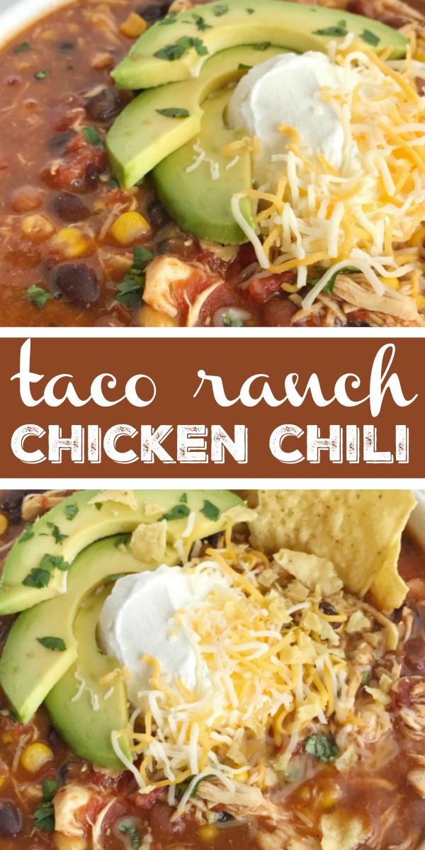 Taco Ranch Chicken Chili | Chicken Chili Recipe | Dinner Recipe | Chicken Recipes | You'll love this taco ranch chicken chili that cooks in the slow cooker all day! Tender chicken loaded with vegetables, beans, and plenty of flavor. Only a few pantry staple ingredients is all you need for a satisfying dinner that is so comforting. Be sure and load it up with all your favorite toppings. #dinner #chili #chickenchili #chickenrecipes