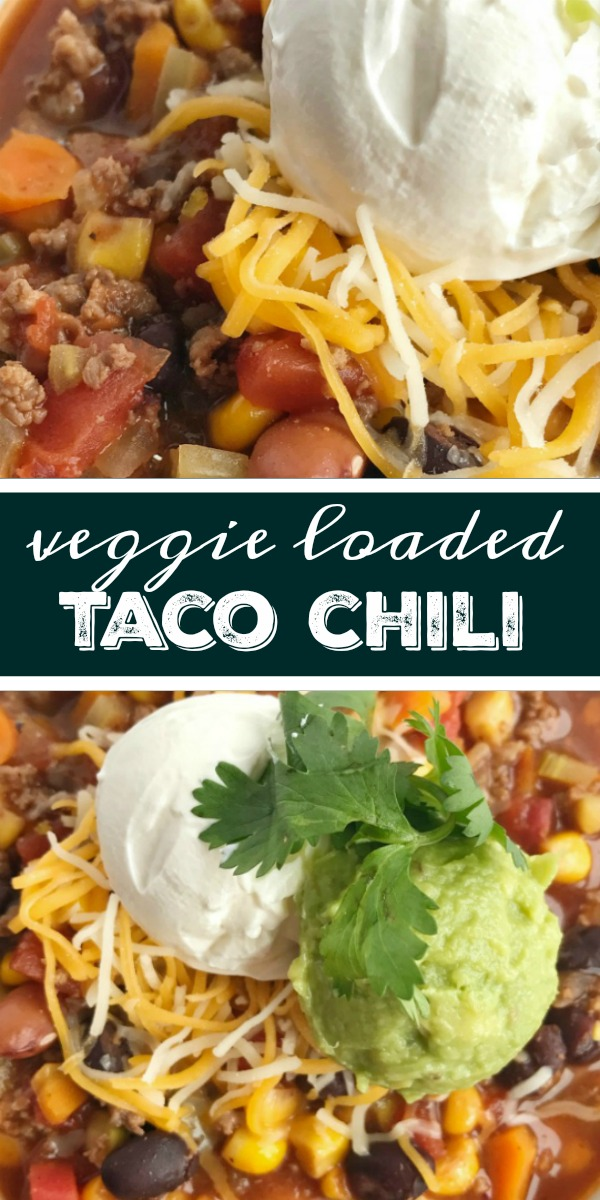 Veggie Loaded Taco Chili | Chili Recipe | Taco Chili | Taco chili with a twist! This veggie loaded taco chili is the best of two favorite soups. Loaded with vegetables, beans, seasoned ground beef and simmered in a flavorful broth. Healthy, delicious, warm & comforting, and sure to be a hit. #chilirecipe #tacochili #souprecipes #dinner #easyrecipe #recipes