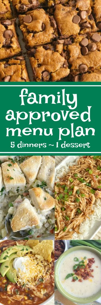 Family menu plan that everyone will love! These have all been kitchen tested over and over again, and will help you get dinner on the table. Easy, family approved, simple ingredients, and delicious food to enjoy together. Five dinner recipes and 1 dessert recipe | www.togetherasfamily.com #menuplans #mealplanning #recipes