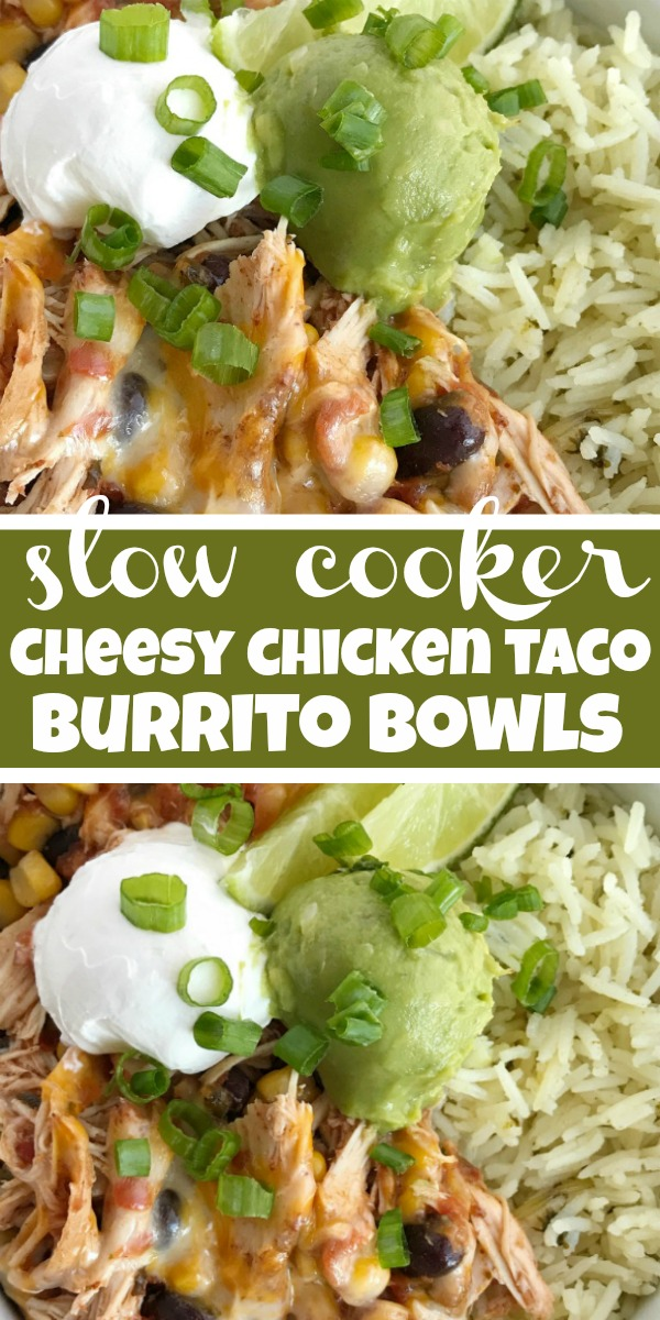 Slow Cooker Chicken Taco Burrito Bowls | Burrito Bowls | Slow cooker chicken taco burrito bowls are a fuss-free, minimal prep & ingredients, and a family favorite dinner recipe. Create your very own burrito bowl, at a fraction of the cost of take-out, right at home. Cheesy chicken taco meat served over cilantro lime rice and topped with avocado, sour cream, green onions, and whatever else you want. #slowcookerrecipe #dinnerrecipes #easyrecipe #chicken #burritobowls
