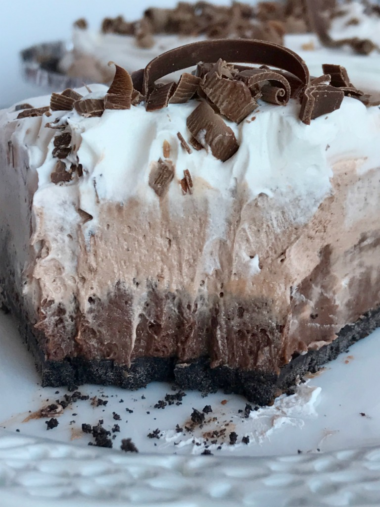 No Bake Triple Layer Chocolate Cream Pie Together As