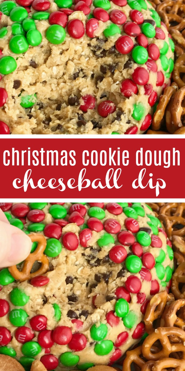Christmas Cookie Dough Cheeseball Dip | Christmas Recipe | Cookie Dough | Cookie dough cheeseball dip is the best appetizer or snack to take to a party or munch on during the Holidays! Red and green m&m's cover the outside of a peanut butter oatmeal chocolate chip cookie dough cheese ball. No flour and no eggs so it's perfectly safe to eat. Serve with pretzels, wafers, cookies, and anything else. #christmasrecipes #dessertrecipe #easyrecipe #recipeoftheday #appetizers