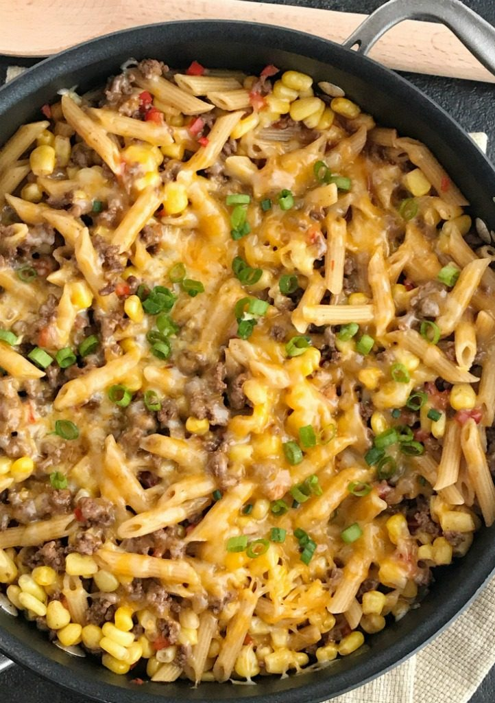 BBQ Beef Pasta Skillet   One Pan Dinner Recipe   Easy Dinner Recipe   Family Dinner Ideas   30 minutes, one pan is all you need for this delicious family dinner that's full of ground beef, corn, pasta, and covered in cheese   #easydinnerrecipes #onepandinner #groundbeefrecipes #dinnerrecipes