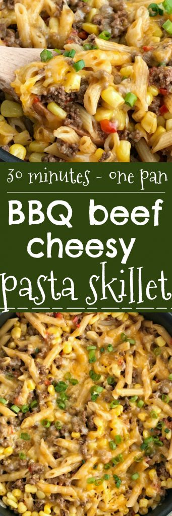 BBQ Beef Pasta Skillet   One Pan Dinner Recipe   Easy Dinner Recipe   Family Dinner Ideas   Recipes with ground beef   30 Minute Dinner Recipes   30 minutes, one pan is all you need for this delicious family dinner that's full of ground beef, corn, pasta, and covered in cheese   #easydinnerrecipes #onepandinner #groundbeefrecipes #dinnerrecipes