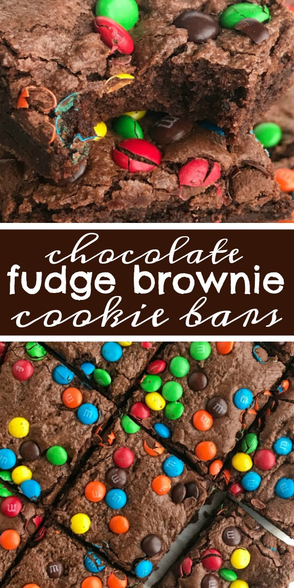 Chocolate Fudge Brownie Cookie Bars   Brownies   Cookie Bars   Chocolate Recipe   Chocolate fudge brownie cookie bars are everything you love about fudgey brownies but with the texture of a cookie bar! These brownie cookie bars will satisfy any chocolate craving! Top with colorful m&m's for a fun and sweet dessert. #chocolate #chocolaterecipes #brownies #dessert #dessertrecipes #recipeoftheday