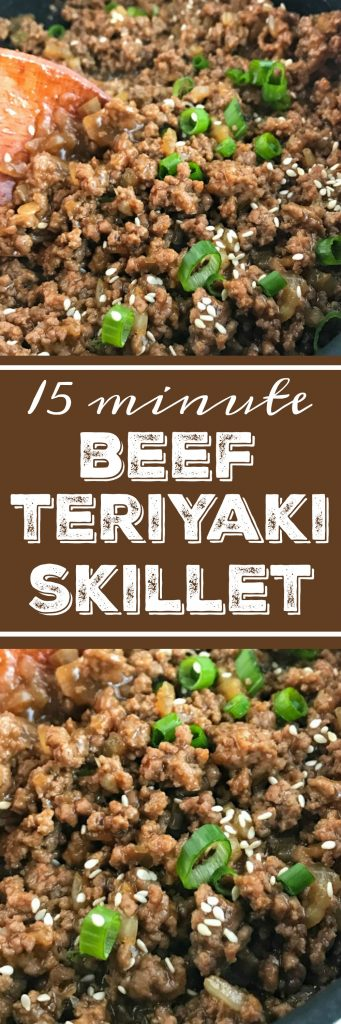 Beef Teriyaki Skillet   Ground beef and only 4 ingredients is all you need for this beef teriyaki skillet. One skillet pan and 15 minutes for an amazing dinner that the entire family will love. Serve over white or brown rice with a vegetable side! #easydinnerrecipes #dinnerrecipes #groundbeefrecipes