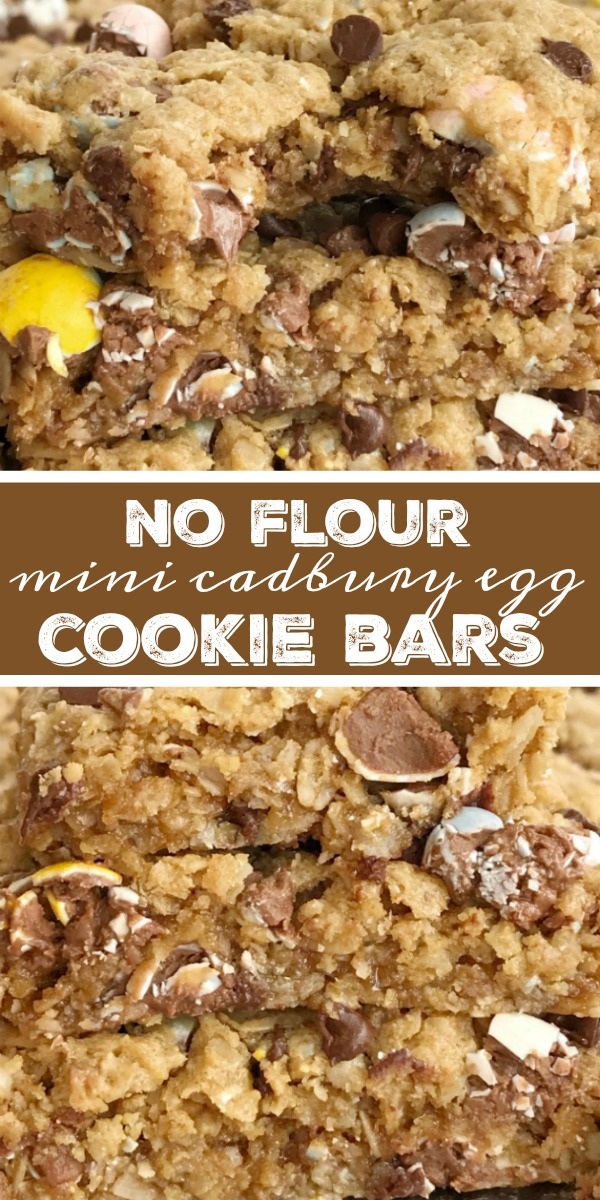 No Flour Cadbury Egg Cookie Bars | Easter Dessert Recipe | Cadbury Mini Egg Recipes | No Flour Cadbury Egg Cookie Bars are the best way to celebrate Easter! These gluten-free, no flour cookie bars are loaded with oats, peanut butter, chocolate, and an entire bag of mini Cadbury eggs. You must try this easy dessert recipe that's made in a cookie sheet so it's perfect for a crowd or for freezing. #easterrecipes #cookiebars #glutenfree #noflourrecipe #dessertrecipe #recipeoftheday