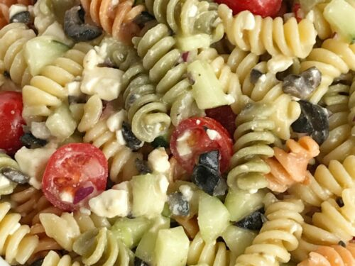 Italian Pasta Salad Together As Family